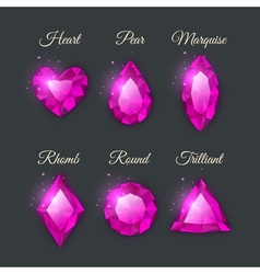 Colorful shiny gemstones collection vector image vector image