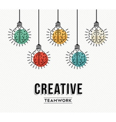 Creative teamwork concept design with human brains vector