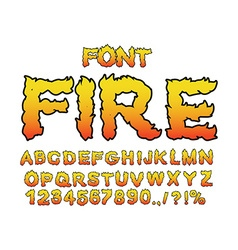 Fire font flame abc fiery letters burning alphabet vector