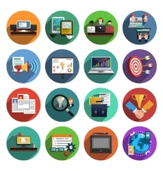 Freelance flat round icons collection vector