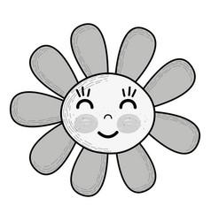 Grayscale kawaii flower happy cheeks and close vector