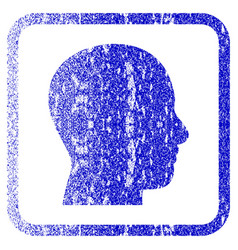 head profile framed textured icon vector image vector image