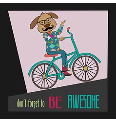 Hipster poster with nerd dog riding bike vector