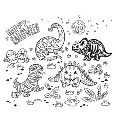 Ink dinosaurs in costumes for halloween vector