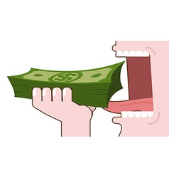 Man eating money consumption of cash bundle of vector