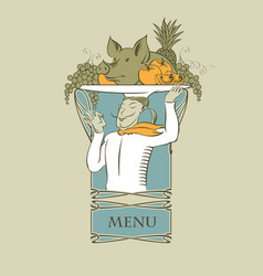 Menu with chef with a tray on his head vector