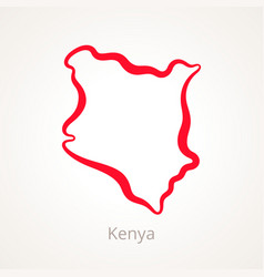outline map of kenya marked with red line vector image vector image