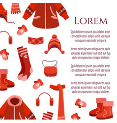 red winter clothing and accessorises poster vector image vector image