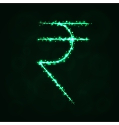 Rupee sign silhouette of lights vector