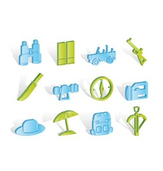 safari and hunting icons vector image vector image