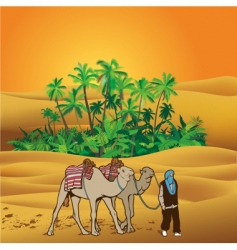 Sahara desert oasis vector image vector image