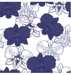 seamless floral pattern blue orchids vector image