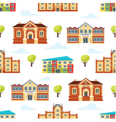Seamless pattern with educational buildings vector