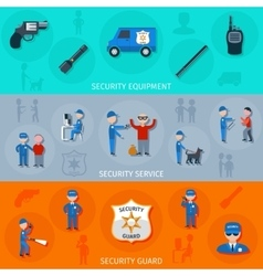 Security guard horizontal banners set vector image vector image
