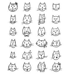 Set of cute cats faces vector