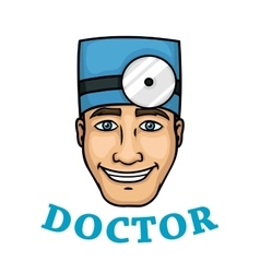 Smiling doctor in blue hat with reflector vector