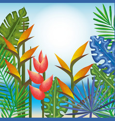 Tropical and exotics flowers and leafs over beach vector