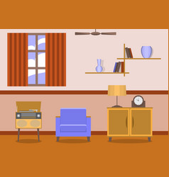 Vintage style living room interior vector