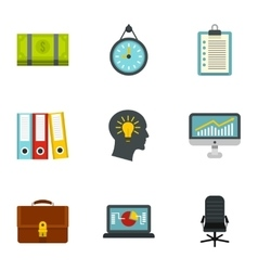 Company icons set flat style vector