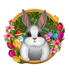White bunny in frame with flowers vector
