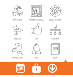 Global network like and conversation icons vector