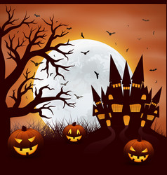 Halloween background with pumpkins and castel vector