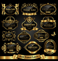 Dark gold-framed labels vector