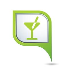 Cocktail symbol on green map pointer vector