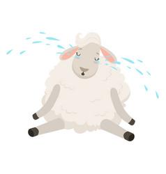 Cute sad white sheep character crying funny vector