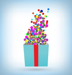 Confetti with gift box on blue vector