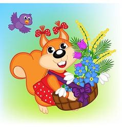 Squirrel with basket with flowers vector