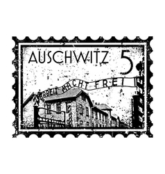 Auschwitz stamp vector