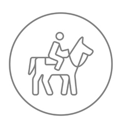 Horse riding line icon vector