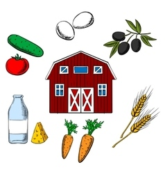 Farming food and agriculture objects vector