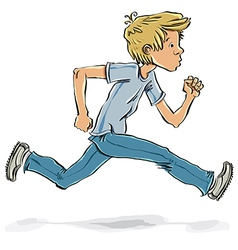 Running and hurrying teen boy vector