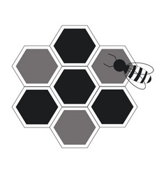 Bee hive team work community concept line vector