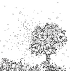 Card with doodle flowers for coloring vector image vector image