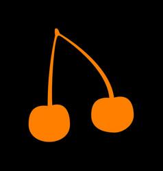 cherry sign orange icon on black vector image