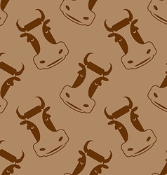 Cow seamless pattern Head of bull pattern beef vector image vector image