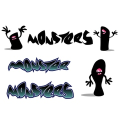 Creepy monster font and character over white vector