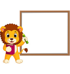 Cute lion cartoon with whiteboard vector