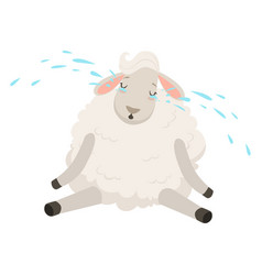 Cute sad white sheep character crying funny vector