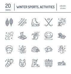 Cute thin line icons of winter sports Outdoor vector image vector image