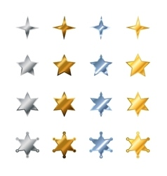 Different stars made from steel bronze silver vector image