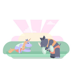 Fitness animals characters vector