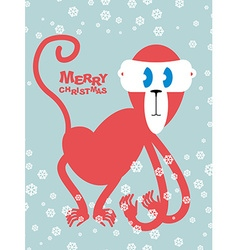 Happy Christmas Red monkey symbol of new year Cute vector image vector image