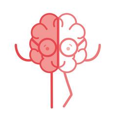 icon adorable kawaii brain with glasses vector image vector image