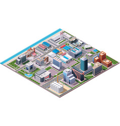 Isometric industrial and business city district ma vector image