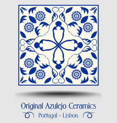Majolica pottery tile blue and white azulejo vector