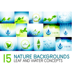 mega collection of nature leaves and water concept vector image vector image